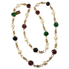Ciner 43 Inch Red Green and Faux Pearl Necklace After Chanel
