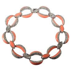 Ciner Collar Necklace Coral Enamel Clear Rhinestones Chain Links Vintage