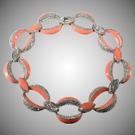 Ciner Peach Enamel and Clear Rhinestones Necklace