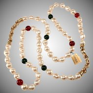 Ciner 42 Inch Red Green and Faux Pearl Necklace After Chanel