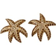 Ciner Starfish Earrings Vintage Clip Backs