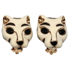 Ciner White Tiger Enameled Cat Earrings Black Accents