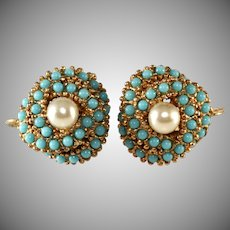 Ciner Faux Turquoise and Pearl Love Knots Earrings Vintage
