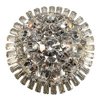 Brooch Clear Rhinestones Domed Pin Vintage 1960s