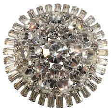 Brooch Clear Rhinestones Domed Pin Vintage 1960s