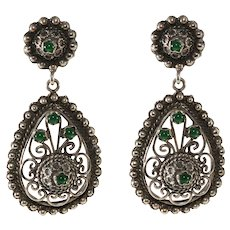 Vintage 800 Continental Silver Cannetille Dangle Earrings Green Stones