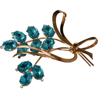 Coro Brooch Sterling Silver Gold Plated Blue Rhinestones Vintage 1940s Pin