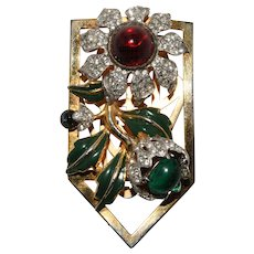 Coro Carmen Miranda Dress Clip Brooch Corocraft 1939