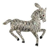 Coro Brooch Fancy Circus Horse Clear Rhinestones Vintage