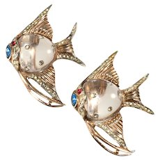 Coro 1940s Angel Fish Jelly Belly Pin Clips Brooch Pair Vintage