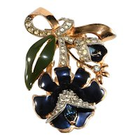 Coro Brooch Dress Clip Flower Enameled Blue Green Rhinestones Bow Vintage