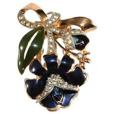 Coro Brooch Dress Clip Flower Enameled Blue Green Rhinestones Bow Vintage