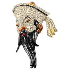 Coro Fujiman Asian Man Head Brooch Pin 1942 Vintage