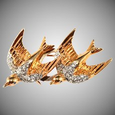 Coro 1940s Heavenly Swallows Duette Brooch Pin Clips Vintage