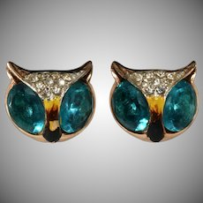 Coro 1940s Owl Earrings Sterling Silver to Match Duette