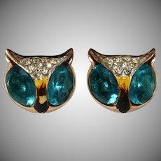 Coro 1940s Owl Earrings Sterling Silver to Match Duette