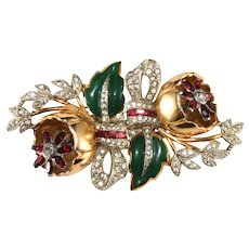 Coro Quivering Camellias Duette Brooch Dress Clips Vintage 1930s