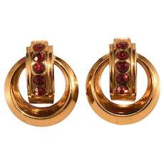 Coro Art Deco Red Rhinestone Screw Back Earrings Vintage