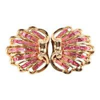 Coro Duette 1940s Baroque Shell Pink Rhinestone Fur Clips Brooch Pins Vintage