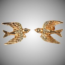 Coro Heavenly Swallows Earrings to Match Duette Brooch