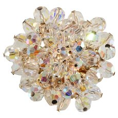Brooch Iridescent Crystal Cluster Pin Vintage 1960s