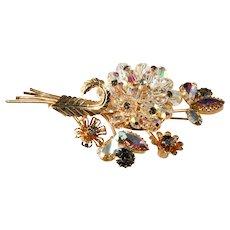Crystal Flower Spray Brooch Pin with Rhinestones Vintage 1960s