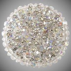 1950s Round Iridescent Crystal Rhinestone Brooch