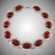 DeLillo Dark Red Cabochon Collar Necklace with Rhinestones De Lillo
