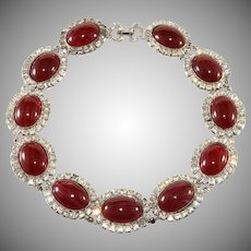 DeLillo Dark Red Cabochon Collar Necklace with Rhinestones De Lillo