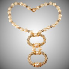 DeLillo Faux Pearl Necklace with Rhinestones Balls de Lillo Vintage