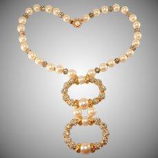 DeLillo Faux Pearl Necklace with Rhinestones Balls de Lillo Vintage