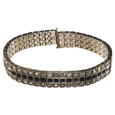 Art Deco Bracelet Sterling Silver Rhinestones Patented 1918