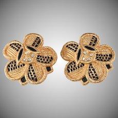 Christian Dior Earrings LARGE Black and Gold Rhinestone Flower