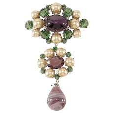 Christian Dior 4.25 Inch Purple and Green Glass Dangle Brooch Pin 1960