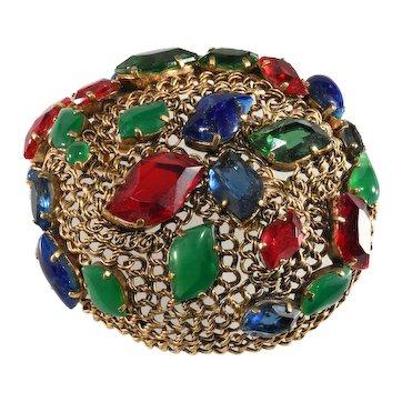 Christian Dior 1962 Brooch Jewel Tone Multicolor Brooch Pin Vintage