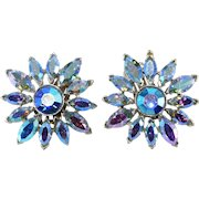 Dodds Iridescent Blue Rhinestone Flower Earrings 1950s Vintage