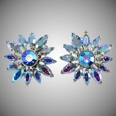 Dodds Iridescent Blue Rhinestone Flower Earrings 1950s Vintage