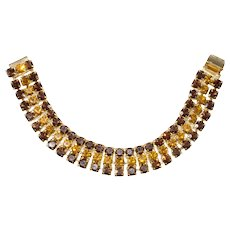 """Dominique Bracelet Brown Amber Rhinestones Three Rows Gold Plated Crystals 7.5"""""""