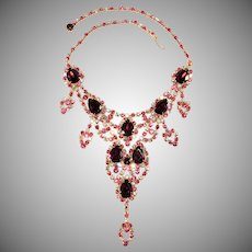 Dominique Pink Purple Clear Rhinestones Bib Necklace