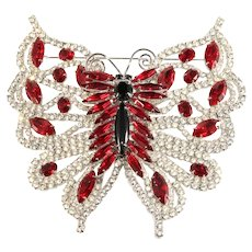 Dominique HUGE 4 Inch Butterfly Brooch Red Clear Rhinestones Vintage