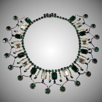 Dominique Collar Necklace Emerald Green and Clear Rhinestones