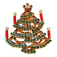 Dominique Christmas Tree Pin Colored Rhinestones Candles Brooch