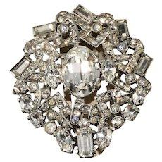 Eisenberg Original c. 1940 Clear Rhinestone Dress Clip Pin Brooch