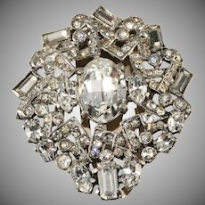Eisenberg Original c. 1940 Clear Rhinestone Dress Clip Pin Brooch