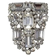 Eisenberg Originals 1930s Clear Rhinestone Dress Clip with Fitted Box