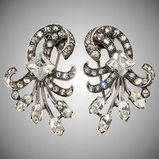 Eisenberg 1940s Sterling Silver Unmarked Fur Pin Clips Pair