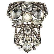 Eisenberg Art Deco Clear Rhinestone Pin or Fur Clip Brooch Vintage