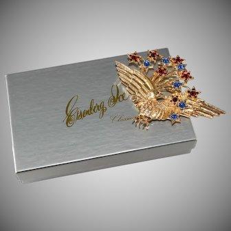 Eisenberg Classics Rhinestone Patriotic Eagle Brooch Pin Original Box Vintage 1990s