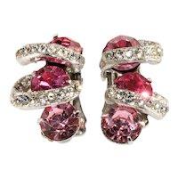 Eisenberg Earrings Pink Clear Rhinestones Vintage
