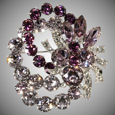 Eisenberg Purple Rhinestone Brooch Pin Vintage 1950s